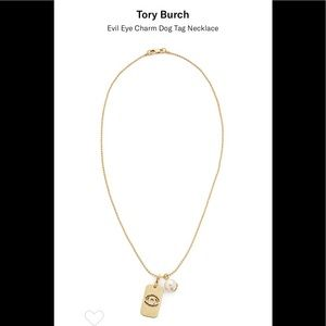 TORY BURCH evil eye charm dog tag necklace🧿